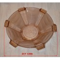 Miska z růžového skla - ART DECO