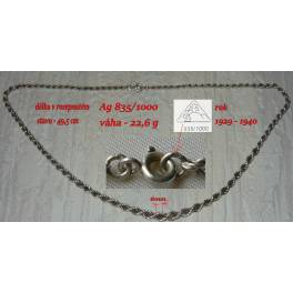 Starožitný stříbrný kroucený řetízek Ag 835/1000, váha 22,6g