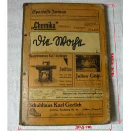 Reklama - desky na noviny z restaurace, 1. pol.20. stol